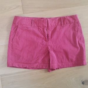 Red and Navy striped seersucker LOFT shorts - 8
